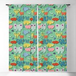 Moths Green Blackout Curtain