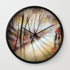Break in the clouds - watercolor Wall Clock