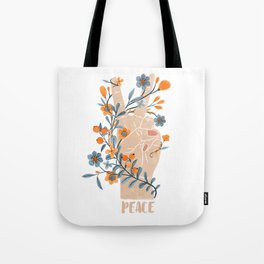 Peace Sign With Orange Flowers, Blue Flowers And Vines Tote Bag