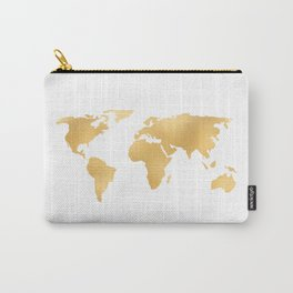 World Map Deep Gold Rush Carry-All Pouch