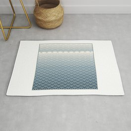 Ocean Japanese Wave Pattern with border Rug