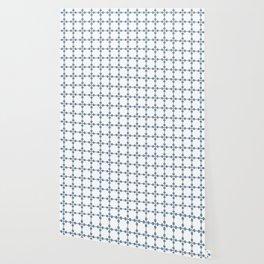 Droplets Pattern - White & Dusky Blue Wallpaper