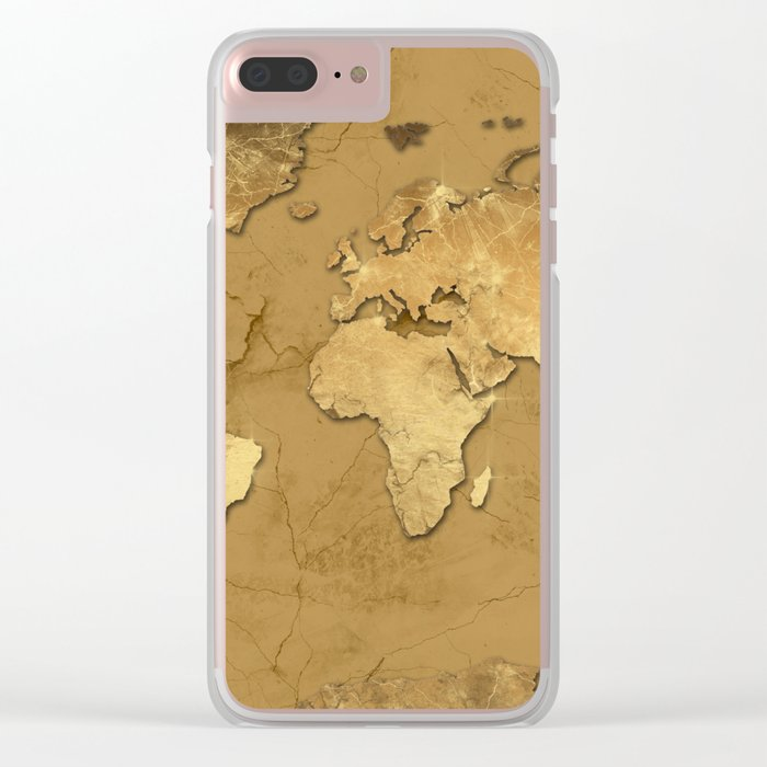 world map marble gold 3 Clear iPhone Case