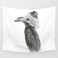 fancy Wall Tapestries featuring Fancy Hornbill by Heather Bechler Illustration