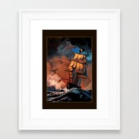 pirate ship Framed Art Prints featuring Pirate Ship by Whelan Galleries