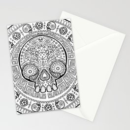 Skull mexican art from the Path to Mictlan Stationery Cards