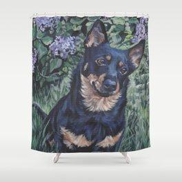 Lancashire Heeler dog art portrait from an original painting by L.A.Shepard Shower Curtain