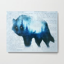 Wolf in the Forest | Double Exposure Wolf | Book Pages | Vintage Wolf Art Metal Print