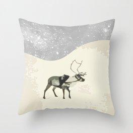 Deer in the snow Throw Pillow