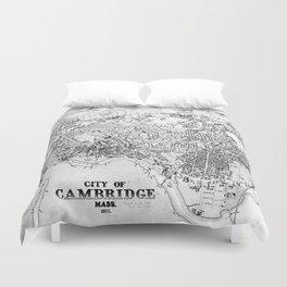 Vintage Map of Cambridge Massachusetts (1877) BW Duvet Cover