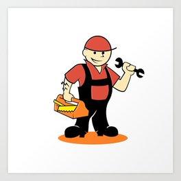 Cartoon handyman with tools Art Print