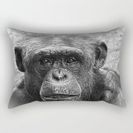 Chimpanzee Closeup of Face, Black and White Rectangular Pillow