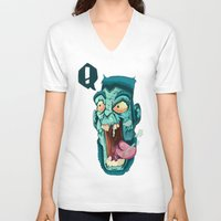 zombie V-neck T-shirts featuring Zombie. by Rachel Alderson