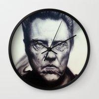 christopher walken Wall Clocks featuring Christopher Walken Portrait by joeandersonart