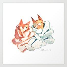 Knitted Kitties Art Print