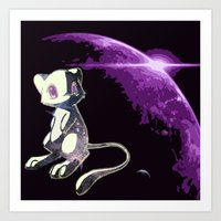 mew Art Prints featuring Mew  by Cat Milchard