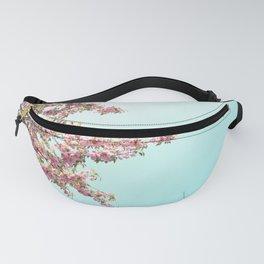 Pink Flowers on Aqua Blue Fanny Pack