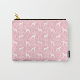 Schnauzer floral silhouette pattern schnauzers minimal pink dog art Carry-All Pouch