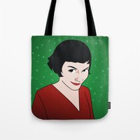 amelie Tote Bags featuring Amelie by Pendientera
