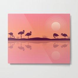 Flamingos on Riverbank Metal Print