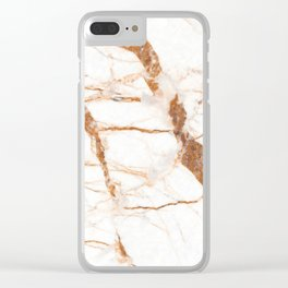 Brown and White marble texure print Clear iPhone Case