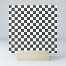 Gingham Dark Slate Grey Checked Pattern Mini Art Print