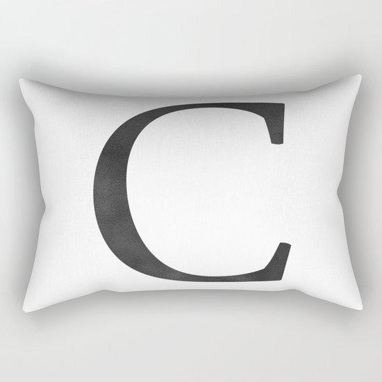Letter C Initial Monogram Black and White Rectangular Pillow