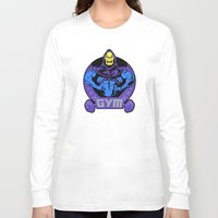 gym Long Sleeve T-shirts featuring Skeletor's gym by Buby87