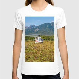 Helicopter landed in an autumn landscape T-shirt