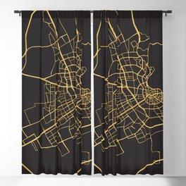 DOHA QATAR GOLD ON BLACK CITY MAP Blackout Curtain