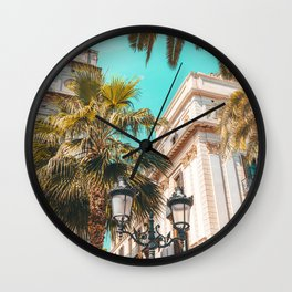 Royal Square Barcelona, City Travel Print, Placa Reial Barcelona, Urban Architecture Travel Print, Palm Tree Barcelona Wall Clock