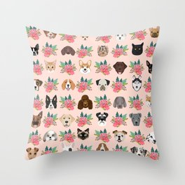 Dogs and cat breeds pet pattern cute faces corgi boston terrier husky airedale Throw Pillow