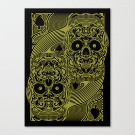 Ace of Spades Gold Skull Playing Card Canvas Print