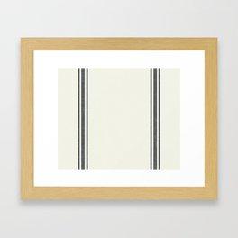 Gray Grey Stripes on light creme french grainsack digital design Framed Art Print