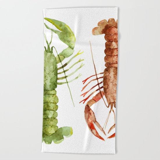 Colorful Lobsters Beach Towel
