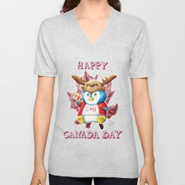 Canada Day 2019 - Eh - ALT CLR - Text Unisex V-Neck
