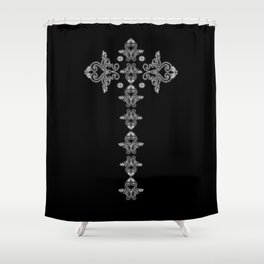 'Faith' - Cross of Lace in black and white Shower Curtain