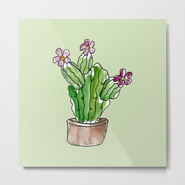 Cactus with Flowers on Green Background Metal Print