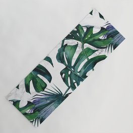 Tropical Palm Leaves Classic on Marble Yoga Mat