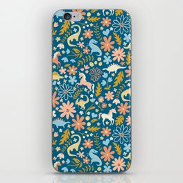 Dinosaurs + Unicorns in Blue + Coral iPhone Skin
