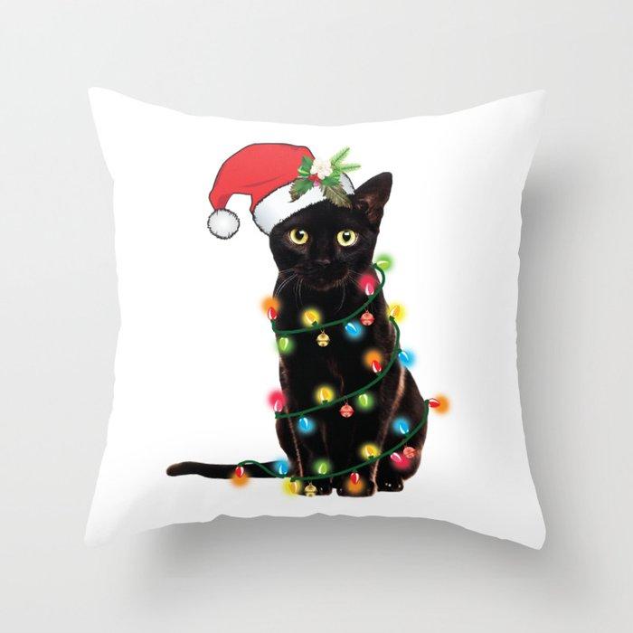 Santa Black Cat Tangled Up In Lights Christmas Santa Graphic Deko-Kissen