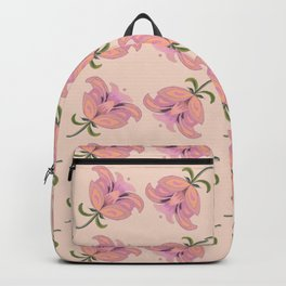 Peace Offering 2 Hand Painted Oil Floral, Peach Background Backpack