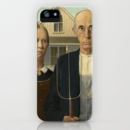 American Gothic Oil Painting by Grant Wood iPhone Case