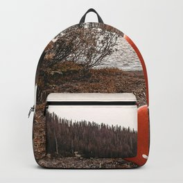 Rustic Autumn Canoe // Dusk Lit Gray Sky Pond Reflection in the Colorado Woodlands Backpack