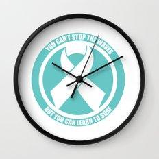 Ride the Waves - Cancer Ribbon Wall Clock