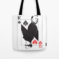 house of cards Tote Bags featuring House Of Cards by capperflapper