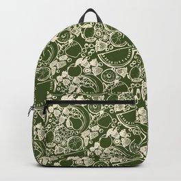 Fruit Print Green Backpack