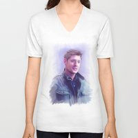 dean winchester V-neck T-shirts featuring Dean Winchester Pastel by Kaye Pyle