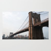brooklyn bridge Area & Throw Rugs featuring Brooklyn Bridge by Leslie Philipp
