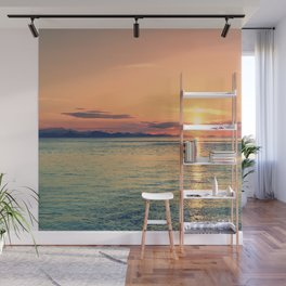 Pastel Sunset Calm Blue Water Wall Mural